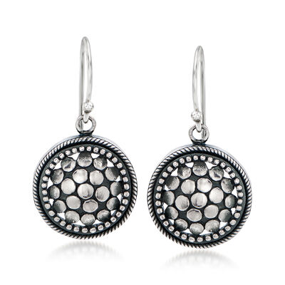 Sterling Silver Beaded Circle Drop Earrings