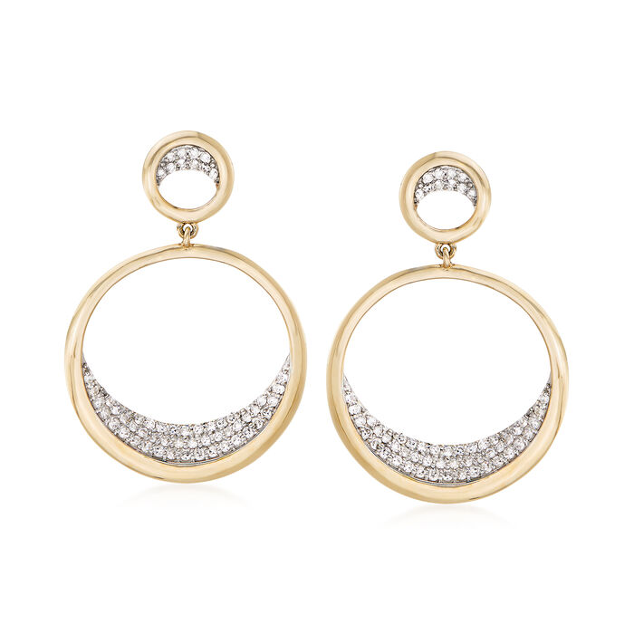 .37 ct. t.w. Pave Diamond Double Circle Drop Earrings in 14kt Yellow Gold, , default