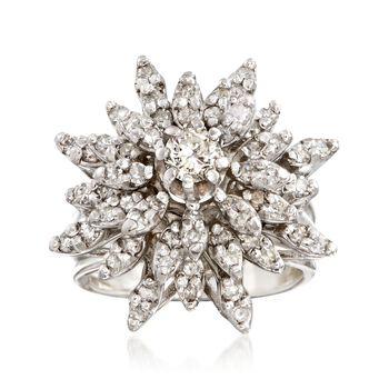 C. 1970 Vintage 1.60 ct. t.w. Diamond Floral Burst Ring in 14kt White Gold. Size 5.5, , default