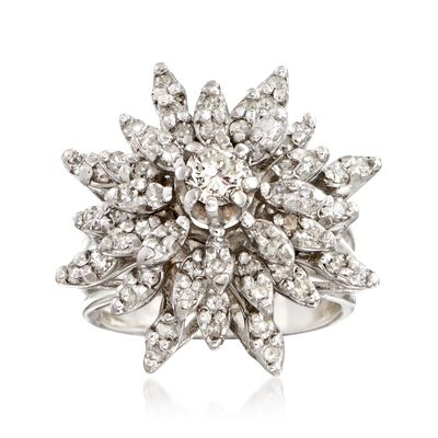 C. 1970 Vintage 1.60 ct. t.w. Diamond Floral Burst Ring in 14kt White Gold, , default