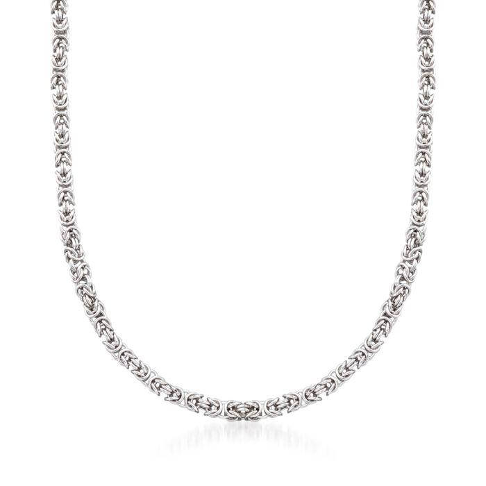 "Men's Sterling Silver Narrow Byzantine Necklace. 22"", , default"