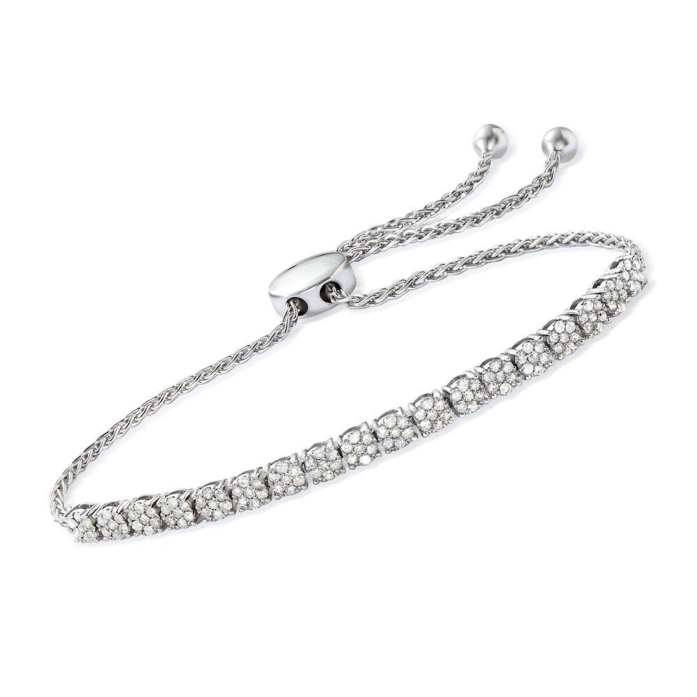 T W Diamond Illusion Bolo Bracelet In Sterling Silver Default