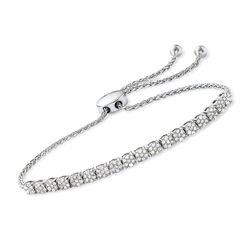 1.00 ct. t.w. Diamond Illusion Bolo Bracelet in Sterling Silver, , default