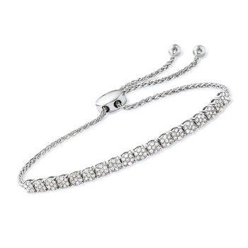 1.00 ct. t.w. Diamond Illusion Bolo Bracelet in Sterling Silver, , default
