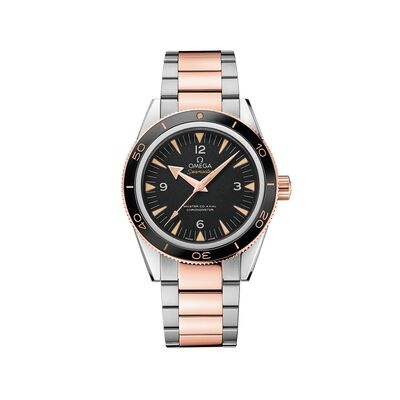 Omega Seamaster Men's 41mm Stainless Steel and 18kt Rose Gold Watch with Black Dial, , default