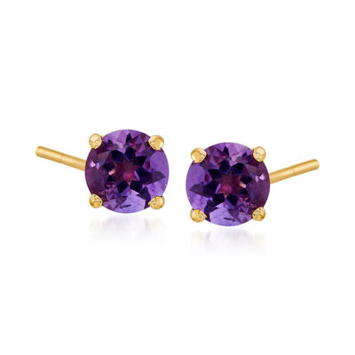 1.50 ct. t.w. Amethyst Stud Earrings in 14kt Yellow Gold