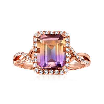 C. 1990 Vintage 2.16 Carat Ametrine and .20 ct. t.w. Diamond Ring in 14kt Rose Gold