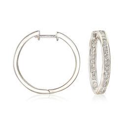 C. 1990 Vintage 2.00 ct. t.w. Diamond Inside-Outside Hoop Earrings in 18kt White Gold, , default