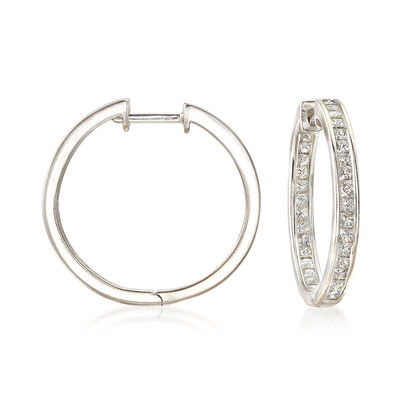 C. 1990 Vintage 2.00 ct. t.w. Diamond Inside-Outside Hoop Earrings in 18kt White Gold, , default