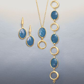 5.50 Carat Blue Quartz and Open Circle Pendant Necklace in 14kt Yellow Gold. 18""