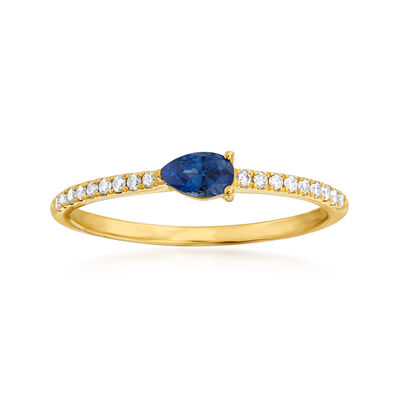 .30 Carat Sapphire and .10 ct. t.w. Diamond Ring in 14kt Yellow Gold