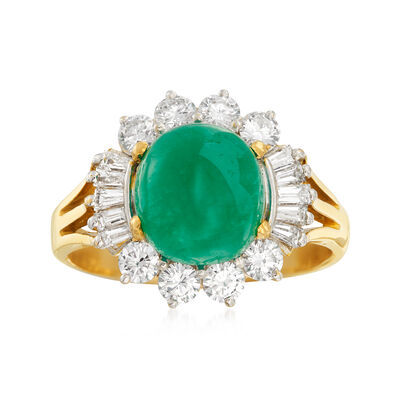 C. 1980 Vintage 2.35 Carat Emerald and .85 ct. t.w. Diamond Ring in 18kt Yellow Gold, , default