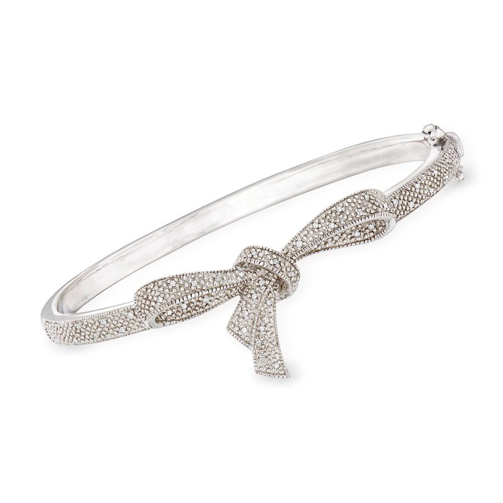 T W Diamond Bow Bangle Bracelet In Sterling Silver Default