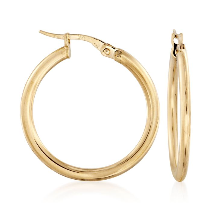 "Roberto Coin 18kt Yellow Gold Hoop Earrings. 1"", , default"