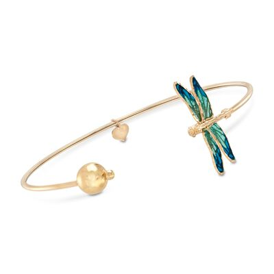 Italian Blue Enamel and 18kt Yellow Gold Dragonfly Cuff Bracelet, , default