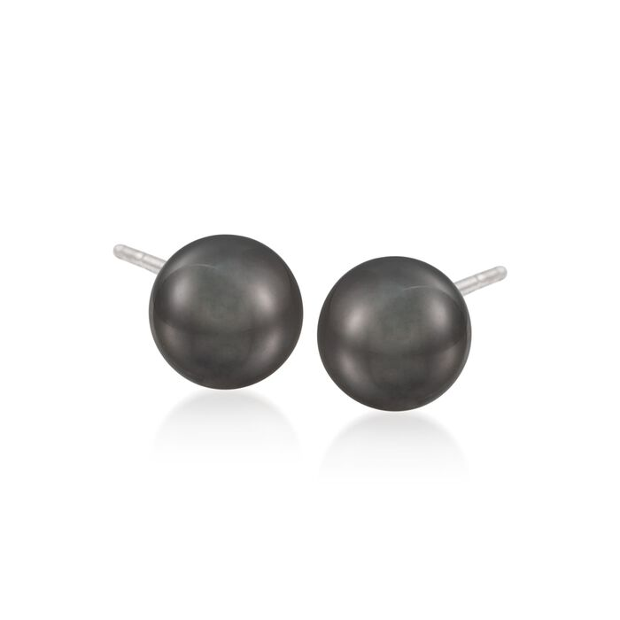 Mikimoto 9mm Black South Sea Pearl Stud Earrings in 18kt White Gold, , default