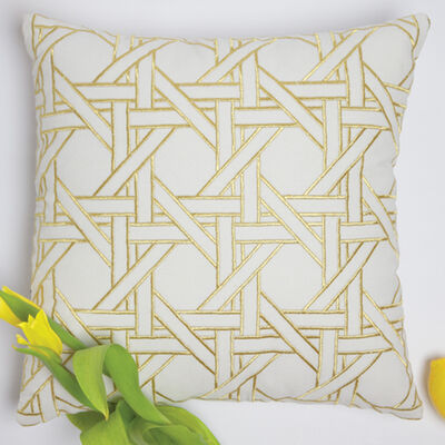 Set of 2 Gold and White Geometric Throw Pillows, , default