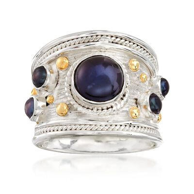 3mm and 8mm Black Cultured Pearl Ring in Two-Tone Sterling Silver, , default