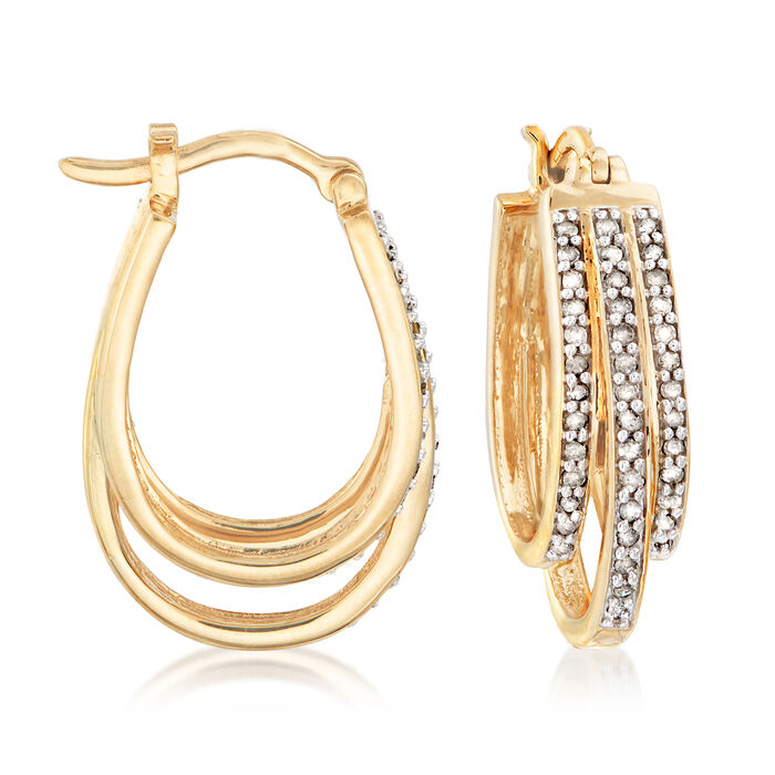 ".50 ct. t.w. Diamond Three-Row Hoop Earrings in 18kt Gold Over Sterling. 1"""