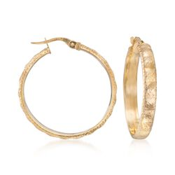 "Italian 14kt Yellow Gold Textured Hoop Earrings. 1 1/8"", , default"