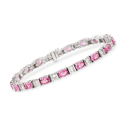 9.50 ct. t.w. Pink Sapphire and 1.60 ct. t.w. Diamond Tennis Bracelet in 14kt White Gold, , default