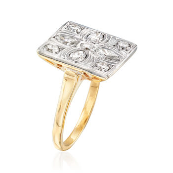 C. 1970 Vintage 1.00 ct. t.w. Diamond Flower Ring in 14kt Two-Tone Gold. Size 6