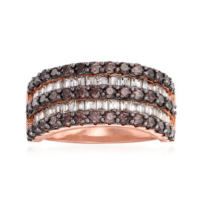 1.70 ct. t.w. Brown and White CZ Ring in 18kt Rose Gold Over Sterling