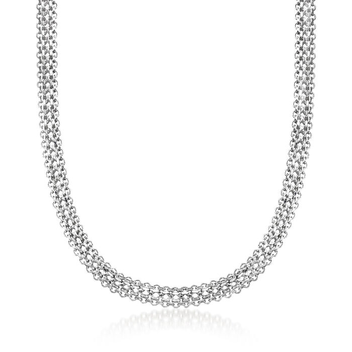 Sterling Silver Mesh Multi-Link Collar Necklace