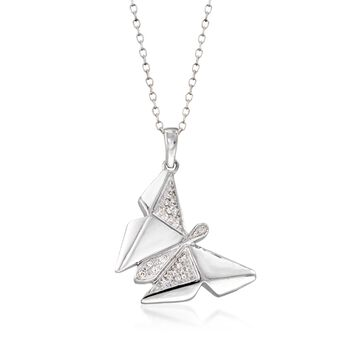 """Sterling Silver Butterfly Pendant Necklace With Diamond Accents. 18"""", , default"""