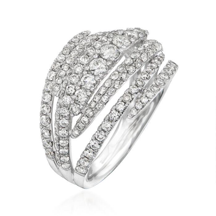 C. 1990 Vintage Piero Milano 1.61 ct. t.w. Diamond Highway Ring in 18kt White Gold