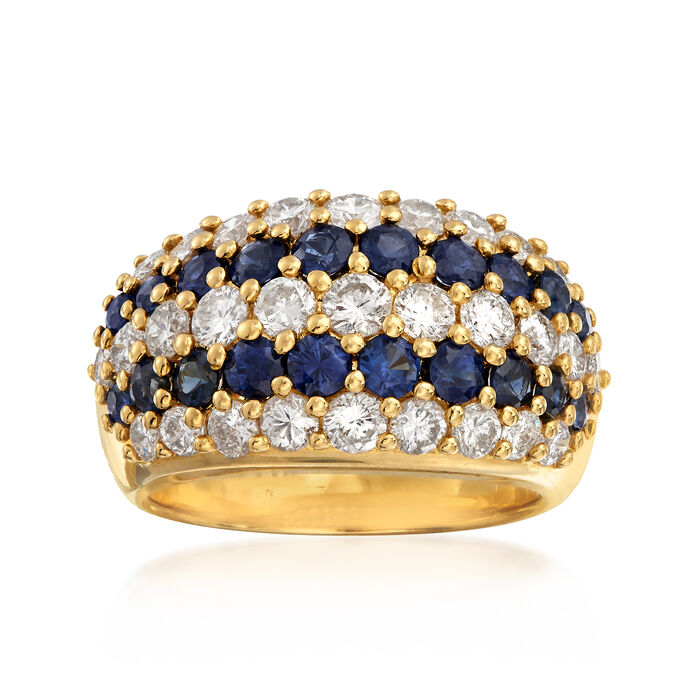 C. 1990 Vintage 1.73 ct. t.w. Diamond and 1.37 ct. t.w. Sapphire Multi-Row Ring in 18kt Yellow Gold. Size 6.25