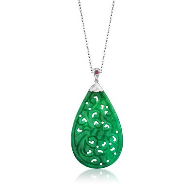 Carved Green Jade Pendant Necklace with Ruby Accent in Sterling Silver, , default