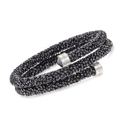 "Swarovski Crystal ""Dust"" Black Crystal Coil Bracelet in Stainless Steel, , default"