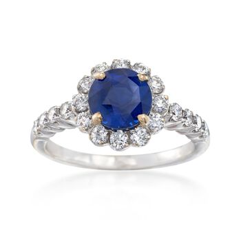 C. 1990 Vintage 1.90 Carat Sapphire and .75 ct. t.w. Diamond Ring in 18kt White Gold. Size 6.5, , default