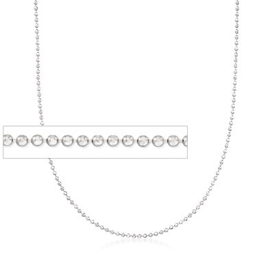 Italian 1mm Sterling Silver Adjustable Slider Bead Chain Necklace, , default