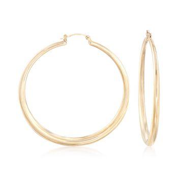"50mm 14kt Yellow Gold Graduated Hoop Earrings. 2"", , default"