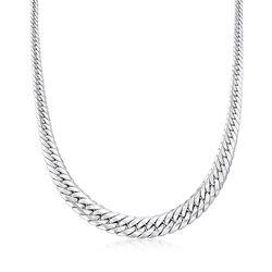 Italian 18kt White Gold Cuban Link Graduated Necklace, , default