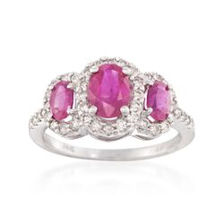 1.65 ct. t.w. Ruby and .50 ct. t.w. Diamond Ring in 14kt White Gold, , default