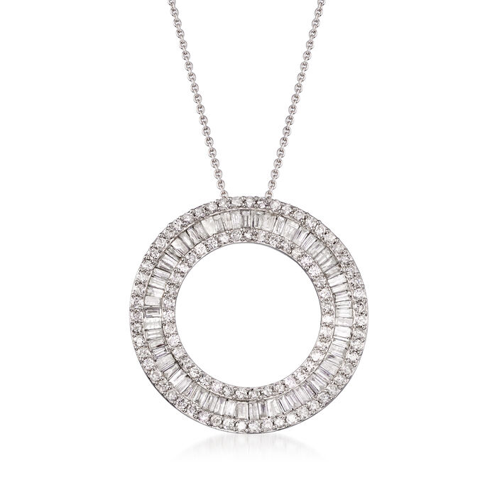 3.00 ct. t.w. Round and Baguette Diamond Open Circle Pendant Necklace in Sterling Silver, , default