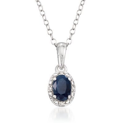 .65 Carat Oval Sapphire Pendant Necklace with Diamond Accents in Sterling Silver, , default