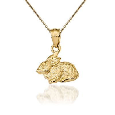 14kt Yellow Gold Rabbit Pendant Necklace, , default