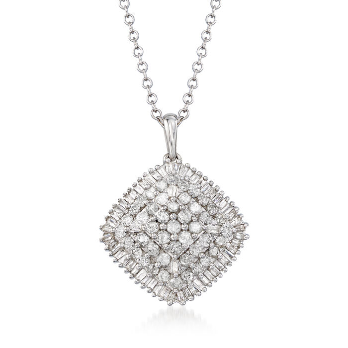 """1.00 ct. t.w. Round and Baguette Diamond Pendant Necklace in Sterling Silver. 18"""", , default"""