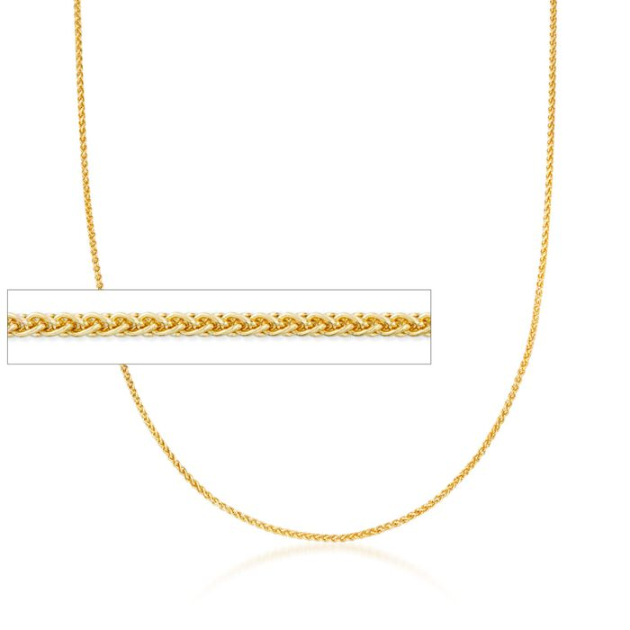 1.2mm 14kt Yellow Gold Wheat Chain Necklace, , default