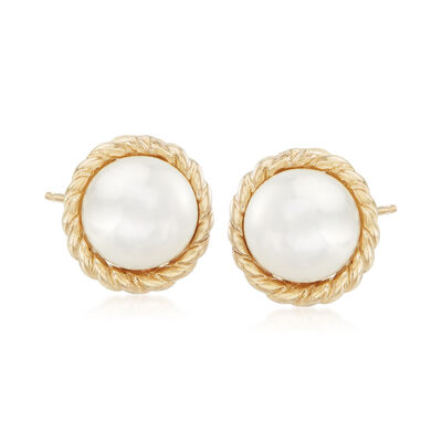 "Phillip Gavriel ""Italian Cable"" 5.5mm Cultured Pearl Earrings in 14kt Yellow Gold"