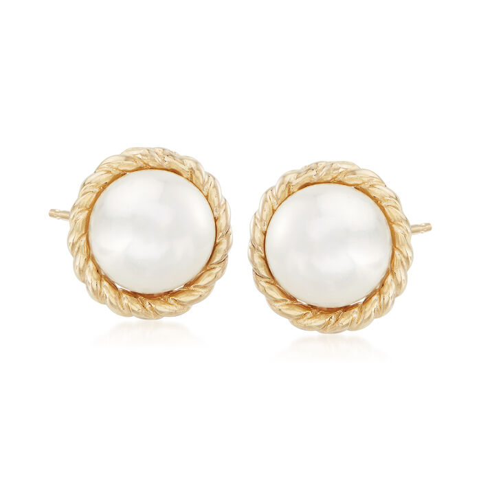 "Phillip Gavriel ""Italian Cable"" 5.5mm Cultured Pearl Earrings in 14kt Yellow Gold"