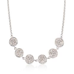 "Gabriel Designs .25 ct. t.w. Diamond Six Circle Necklace in 14kt White Gold. 15.5"", , default"