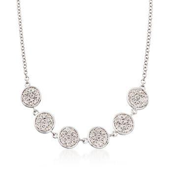 "Gabriel Designs .25 ct. t.w. Diamond Six Circle Necklace in 14kt White Gold. 15.5"", , default"