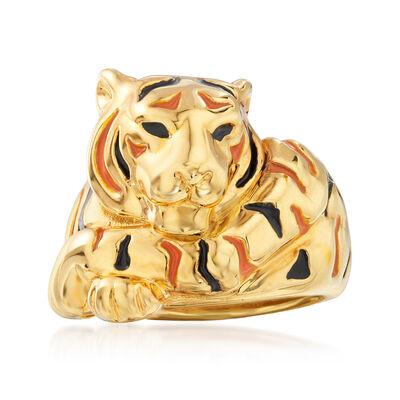 Italian Enamel Tiger Ring in 18kt Yellow Gold, , default