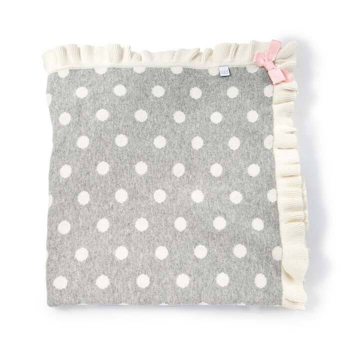 Elegant Baby Gray Polka Dot Ruffle Cotton Blanket with Pink Bow, , default