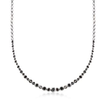 2.00 ct. t.w. Bezel-Set Black Diamond Graduated Necklace in Sterling Silver, , default